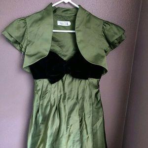 Teri Jon Womens Dress Moss Green Strapless Bubble